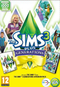 The Sims 3 Plus Generations packshot box art