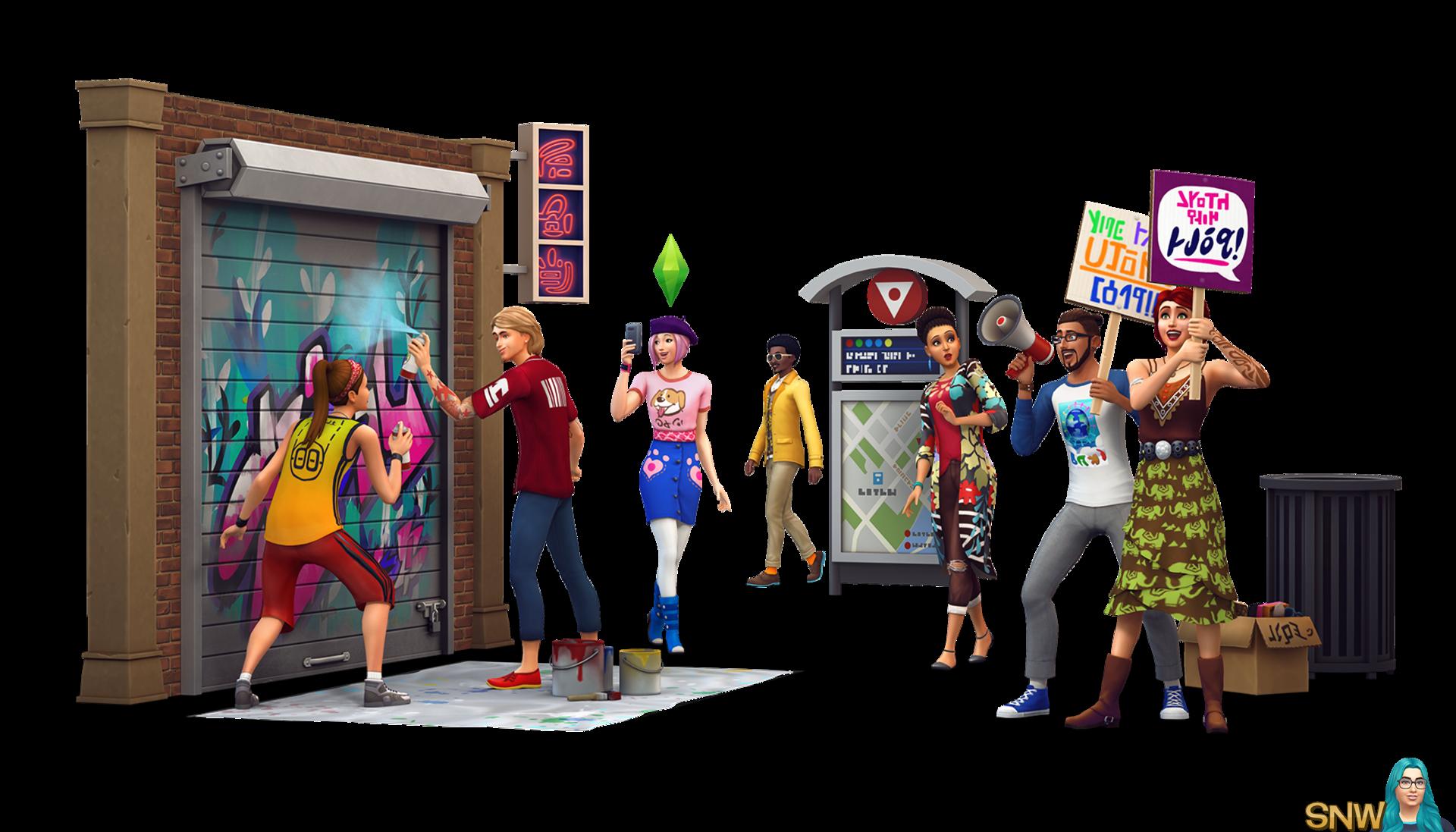 The Sims 4: City Living render / De Sims 4: Stedelijk Leven render
